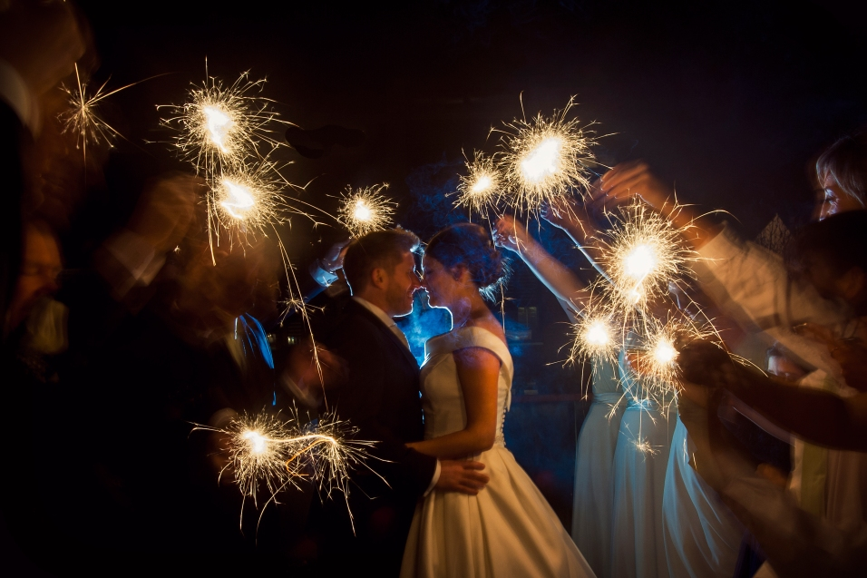 Wedding Sparkler shot at Oddfellows Chester