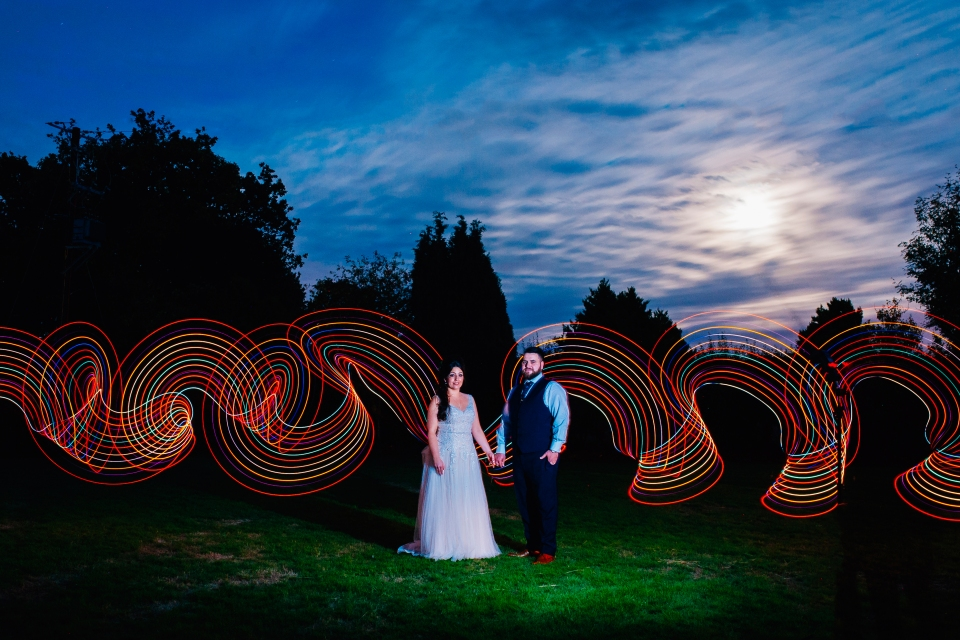 larkspur lodge alternative wedding photography cheshire light painting wedding photography